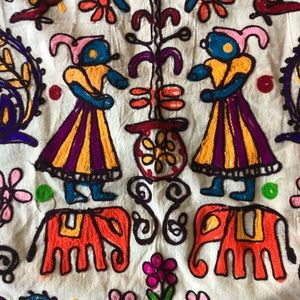Vintage Embroidered Tapestry Indian Style Decor